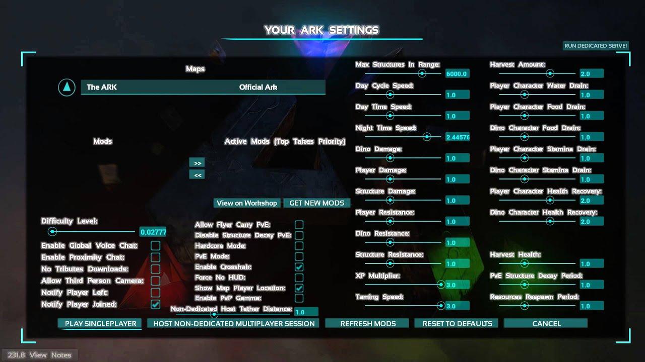 nitrado server einstellen für ark