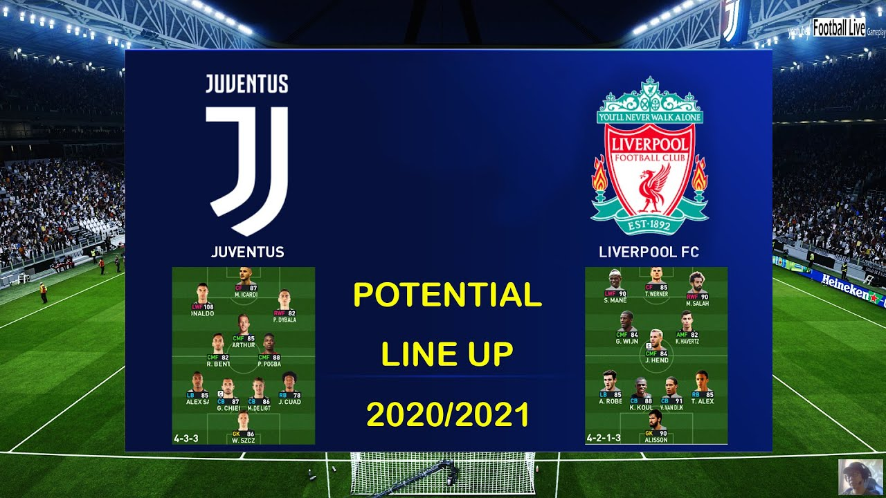 Juventus Potential Line Up 20 21 Vs Liverpool Potential Line Up 20 21 Pes 2020 Youtube
