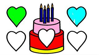 Let's Draw Kids Birthday Cake! Lets color! #LearnColors Little Kids Channel