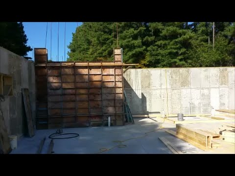 Pouring a totally concrete enclosed safe room.