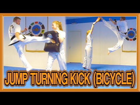 Taekwondo Jump Turning Kick/Roundhouse Kick Tutorial (Bicycle Motion) | GNT How to