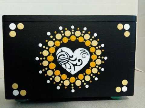 Sandra Blaine Original Mandala Dot Art on a Recycled Wooden Cigar Box Yin Yang Lotus Flower