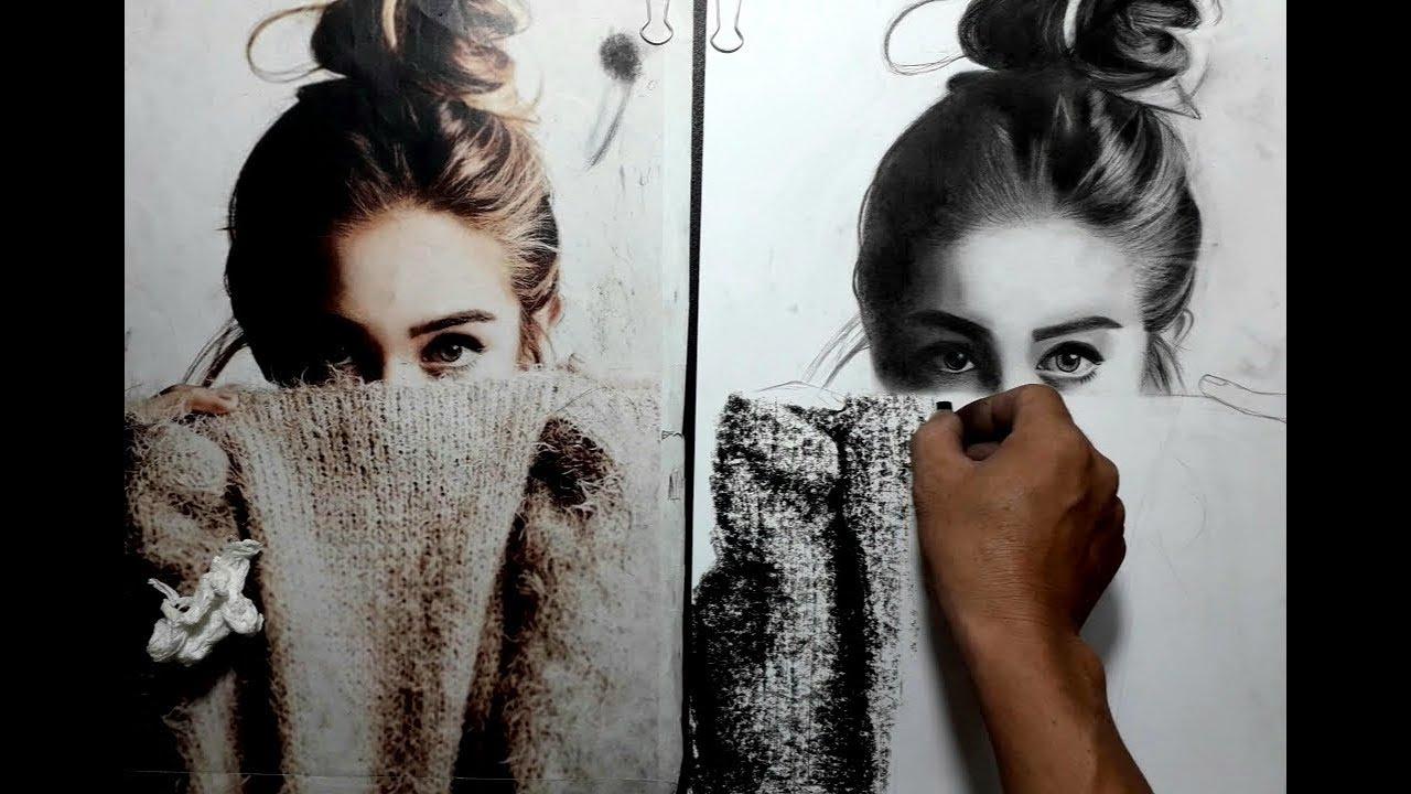 Cách tả chất len cực nhanh. HT Art. Vẽ chân dung. Cách vẽ chân dung. Vẽ chân dung bút chì