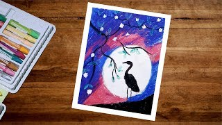 Oil Pastel Drawing For Beginners Step By Step | Moonlight Scenery Drawing
