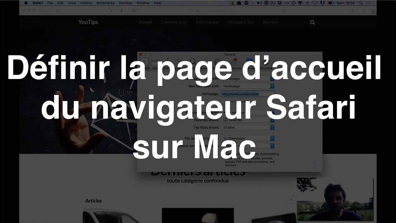 définir la page d'accueil du navigateur safari sur mac - youtube