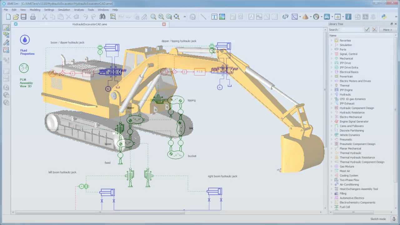 Lms Amesim Analysis Tools Animation Of An Hydraulic Excavator Model Youtube