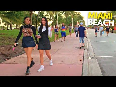 4K Miami Beach Walk South Beach Ocean Drive Sunset Miami, FL