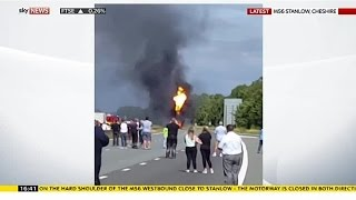 Propane Gas Tanker On Fire On M56