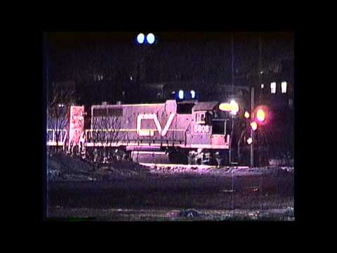 6 GP38's on a Central Vermont freight at Bellows Falls,VT  01/16/1990