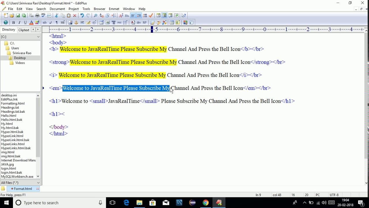 HTML Text Formatting || HTML Formatting Tags || Text Formatting Tags