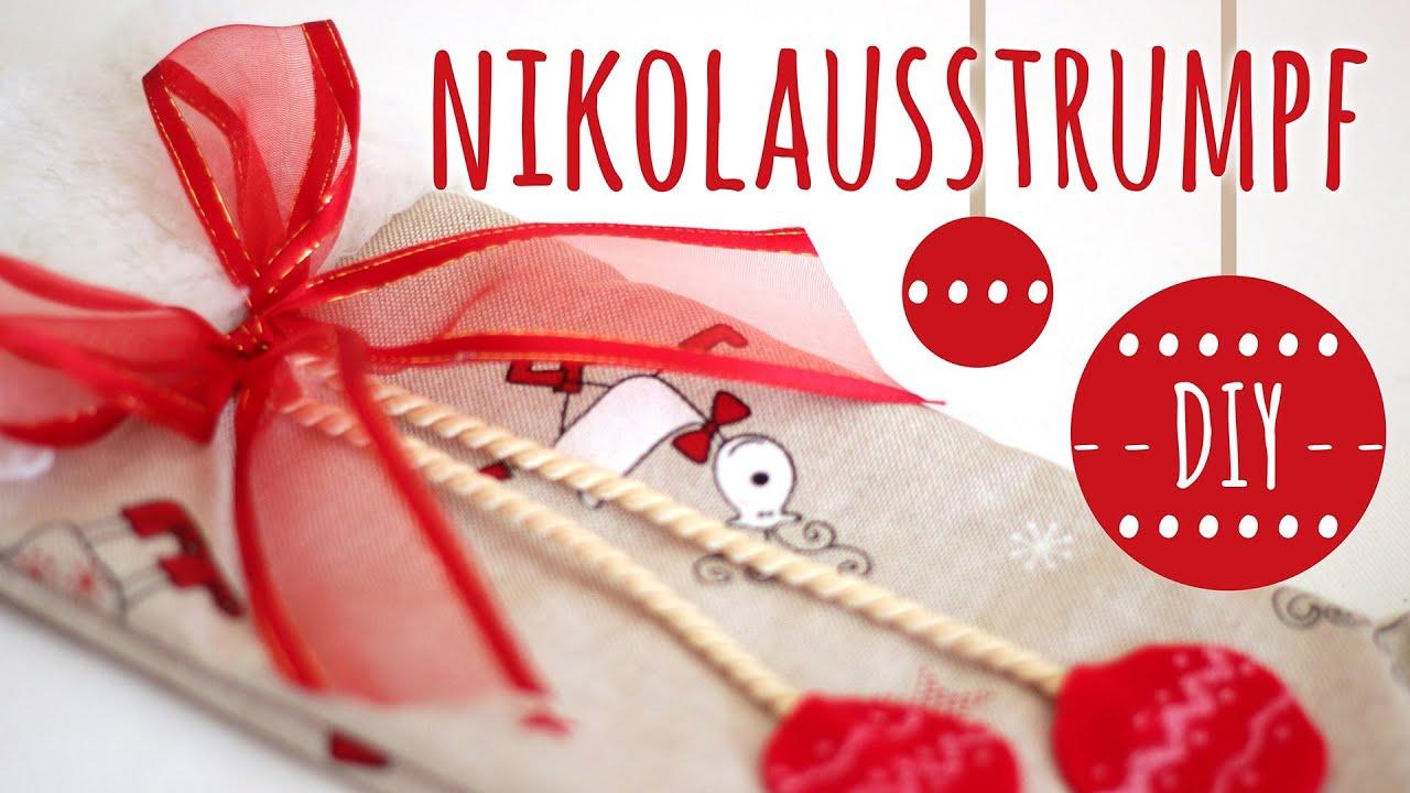 Diy nikolausstrumpf l weihnachtsdeko geschenkverpackung for Youtube weihnachtsdeko