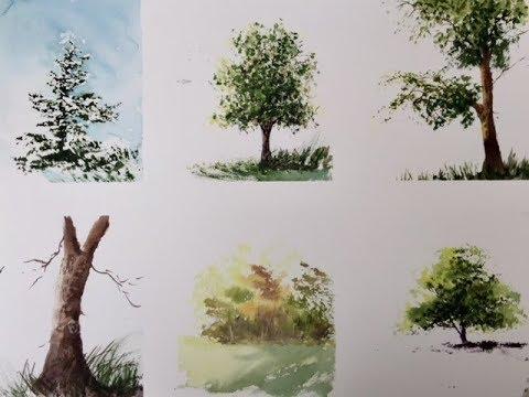 Как рисовать деревья акварелью поэтапно для начинающих
