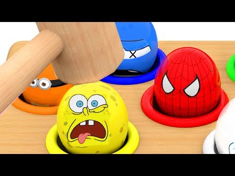 Thumbnail: Learn Colors with Whac a Mole for Kids Children Toddlers Character Surprise Eggs movie