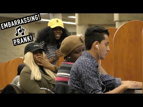 Accidentally Blasting EMBARRASSING Songs in the Library PRANK!