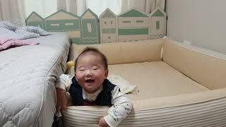 +195일) 범퍼 침대에서 노는 아기