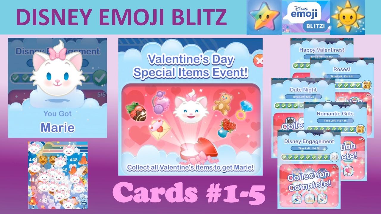 Disney Emoji Blitz Valentines Day Event Cards 1 5 Marie Emoji