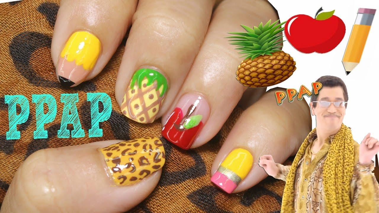 PPAP Pen Pineapple Apple Pen Nail Art Tutorial - YouTube