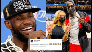 Lebron James MOCKS SpoiIed Wife After She's KlCKED OUT Of Game For Trash Talking Him.