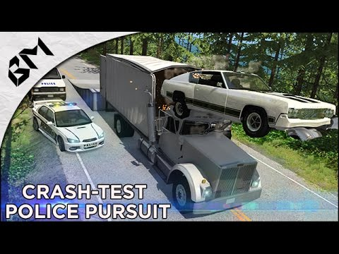 BeamNG Drive - Police Pursuit - High Speed Crash - Plane Cra