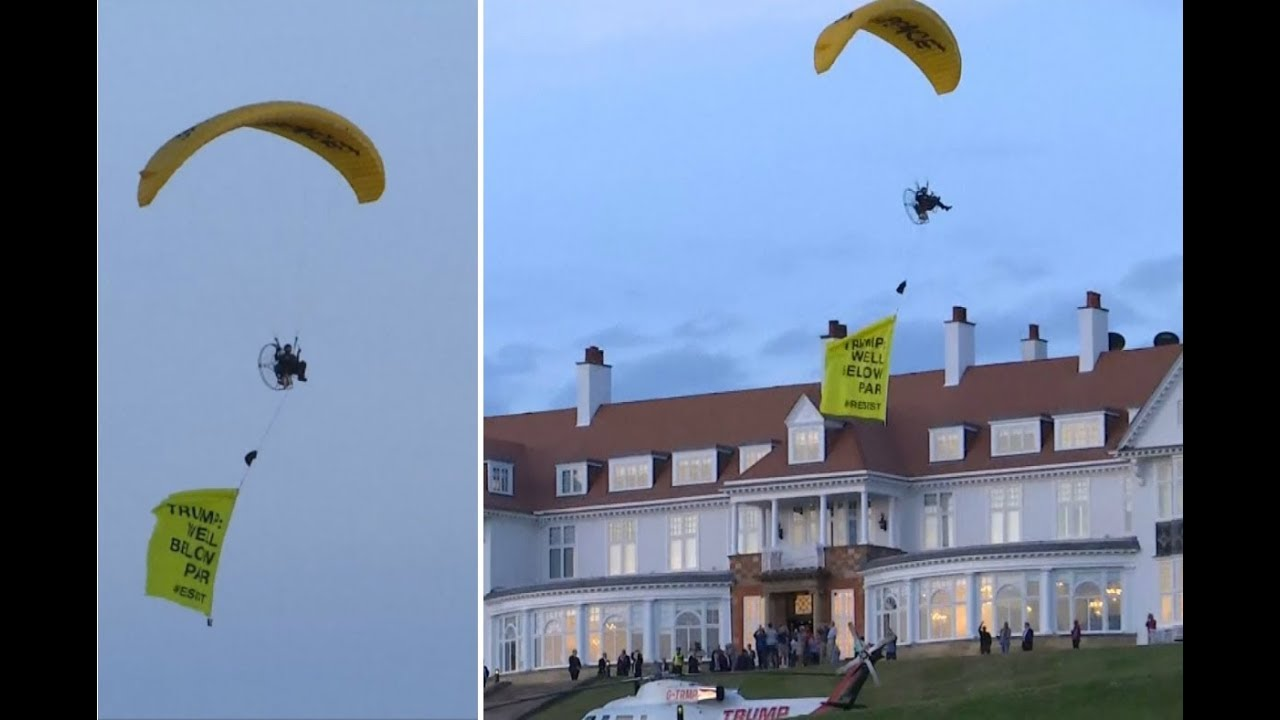 Trump lands in Scotland GreenPeace got past security to Protest him