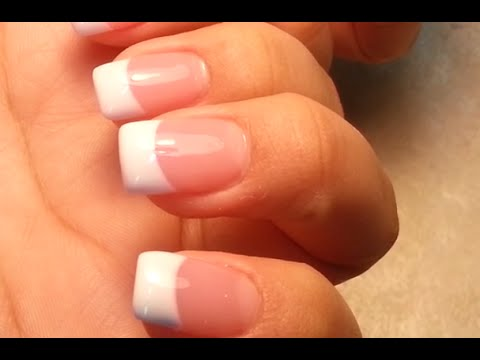 Pretty Easy Way to-do Pink and White Acrylic Nails - YouTube