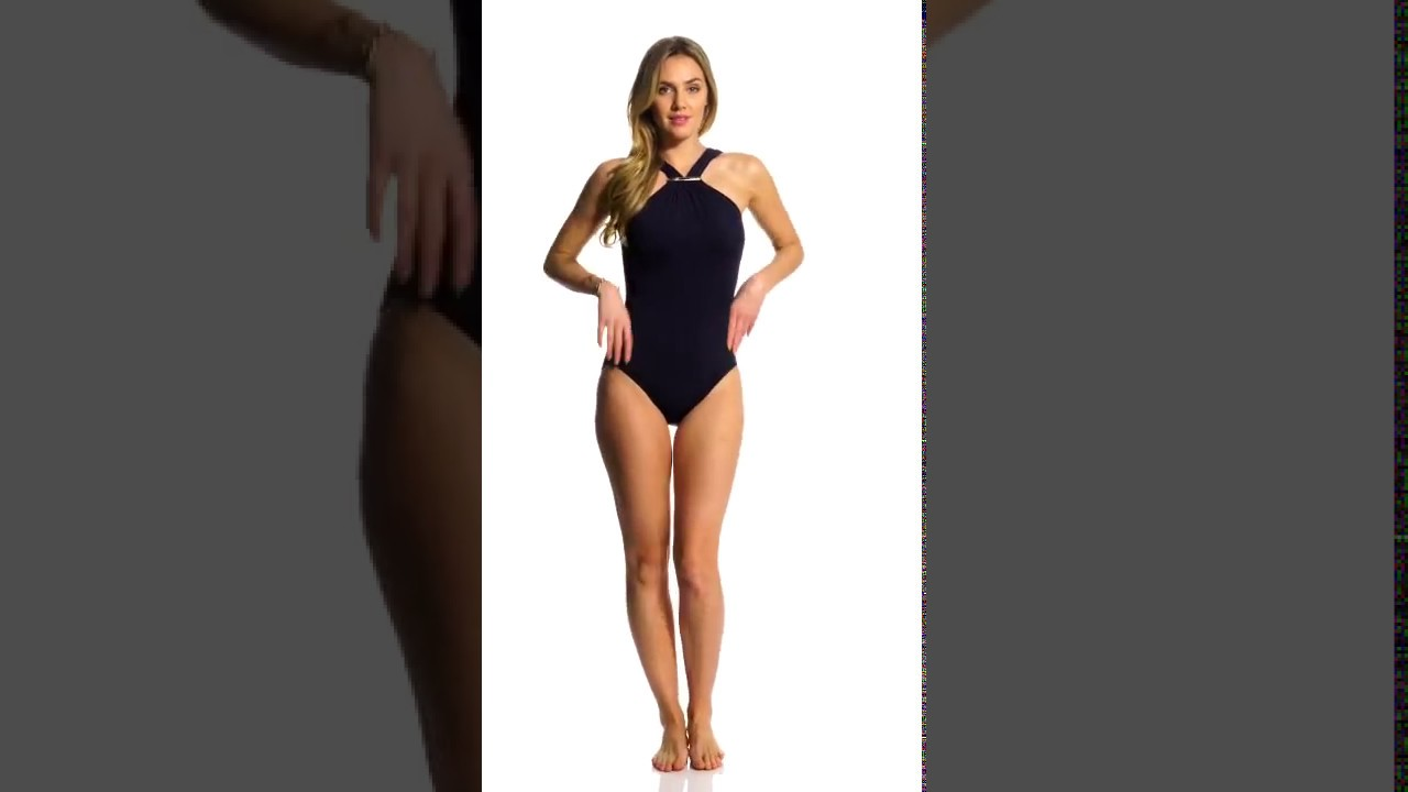a0250481ff94 Michael Kors Swimwear Iconic Solid High Neck One Piece Swimsuit |  SwimOutlet.com