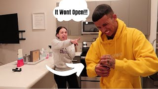 Super Gluing a Jar Lid and Asking My Boyfriend To Open It Prank