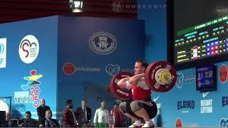 Darya Naumava (75) - 133kg Clean and Jerk @ 2015 European Championships