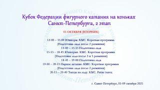 Кубок Федерации фигурного катания на коньках Санкт Петербурга 2 этап 05 10 2021