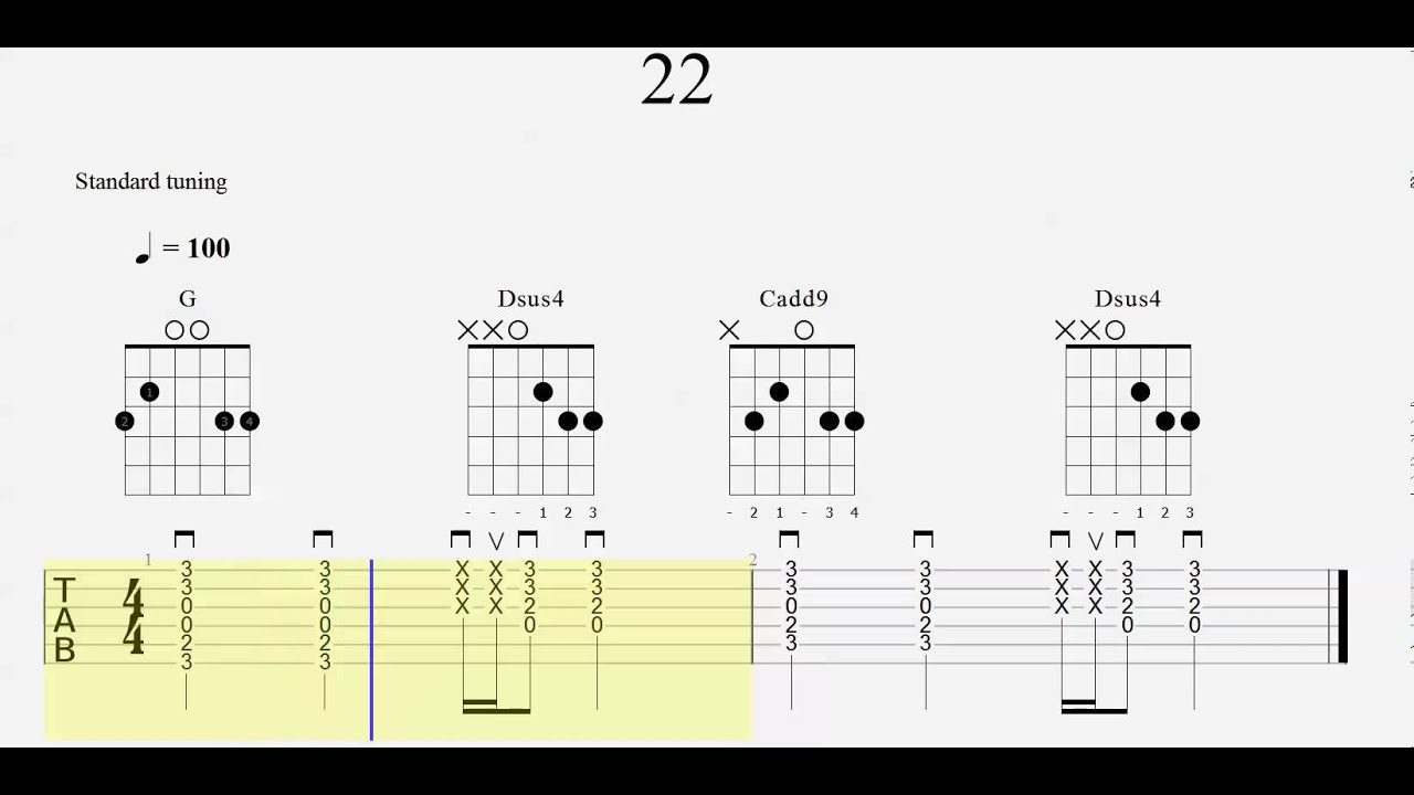 Guitar Chord Practice - Tab - 22 - Slow to Fast - Play Along - YouTube