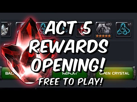 Act 5 Rewards! - Five Star Crystal Opening - Free To Play Adventures - Marvel Contest Of Champions