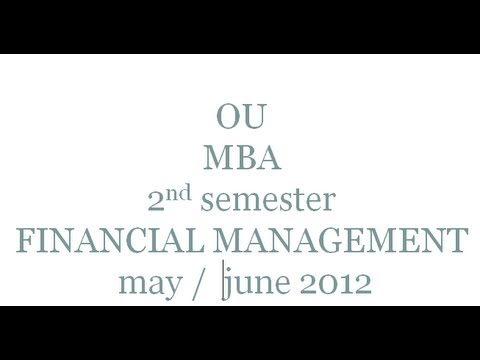 ou mba 2nd semester financial management may june 2012