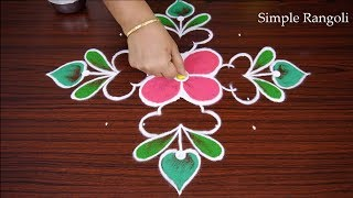Cute Simple Rangoli Design with dots | Easy Rangoli | Rangoli | Easy & Simple Rangoli