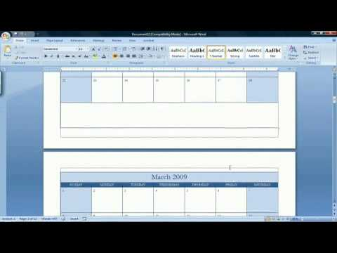 How to Make a Calendar in Microsoft Word 2007 - YouTube