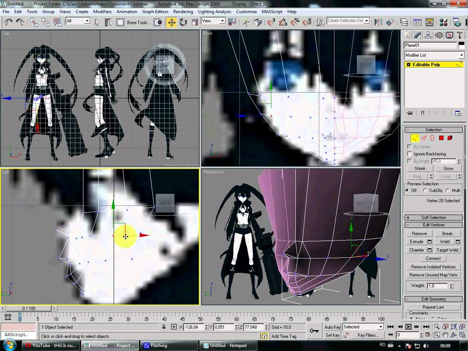 3ds max low poly anime face tutorial youtube for 3ds max face modeling