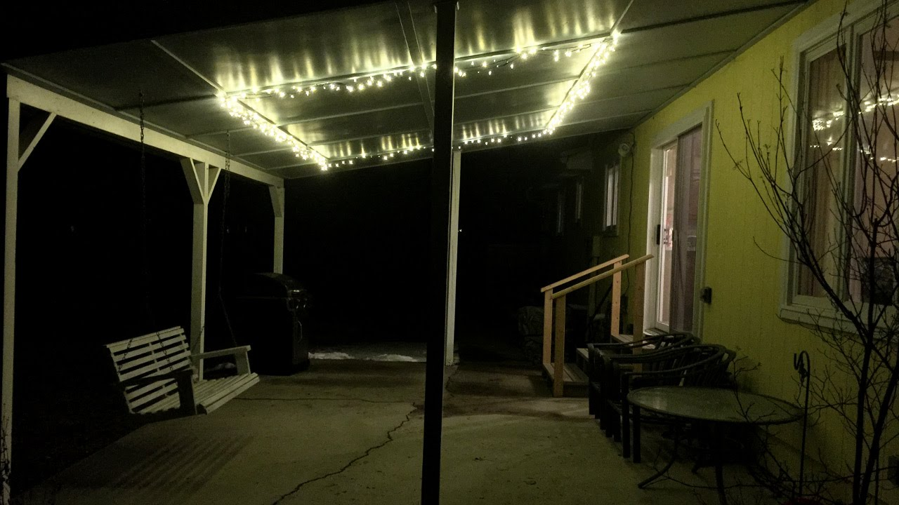Easy cheap patio lighting using Christmas lights  YouTube