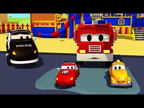 Авто Патруль: пожарная машина и полицейская машина, и Малыши застряли!  в Автомобильный Город