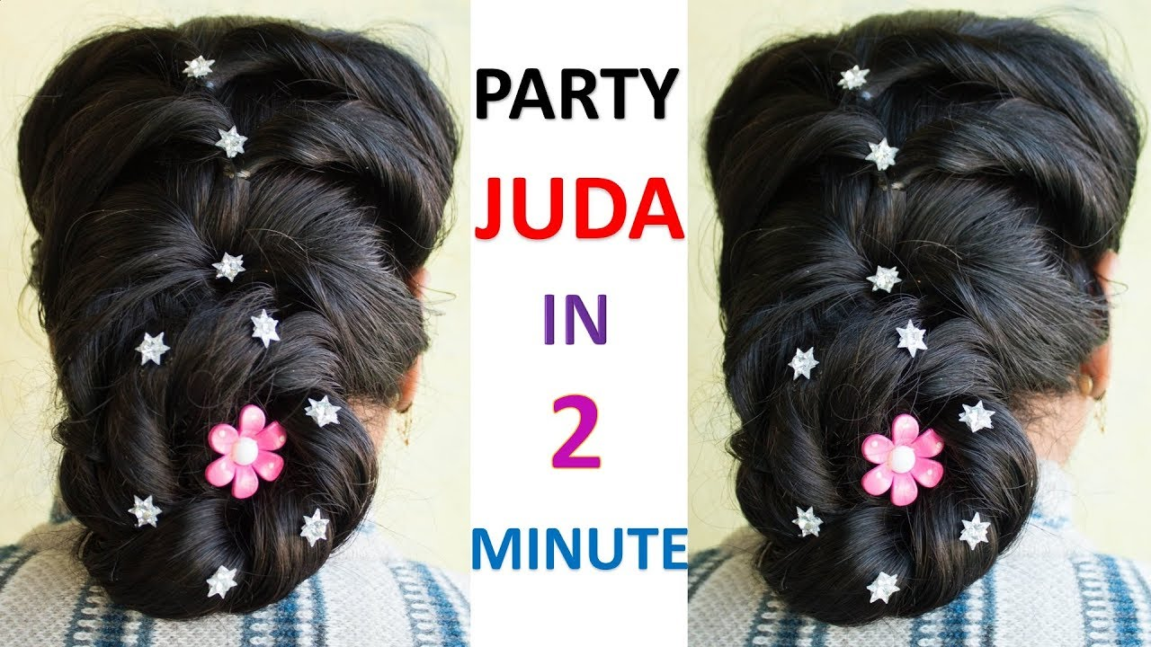 Party Juda Bridal Bun Hairstyle For Long Hair Best And Easy