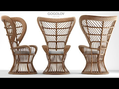 """№133. Chair Modeling """" Rattan High Back Armchair Circa 1950 """" Autodesk 3ds Max"""