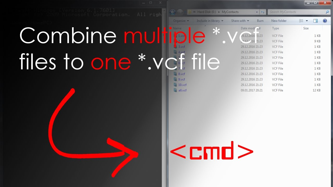 HowTo: Combine vCard/* vcf files to a single vCard/* vcf file