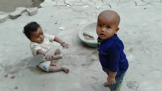 Funny Video Of Cute Babies Playing In Ground