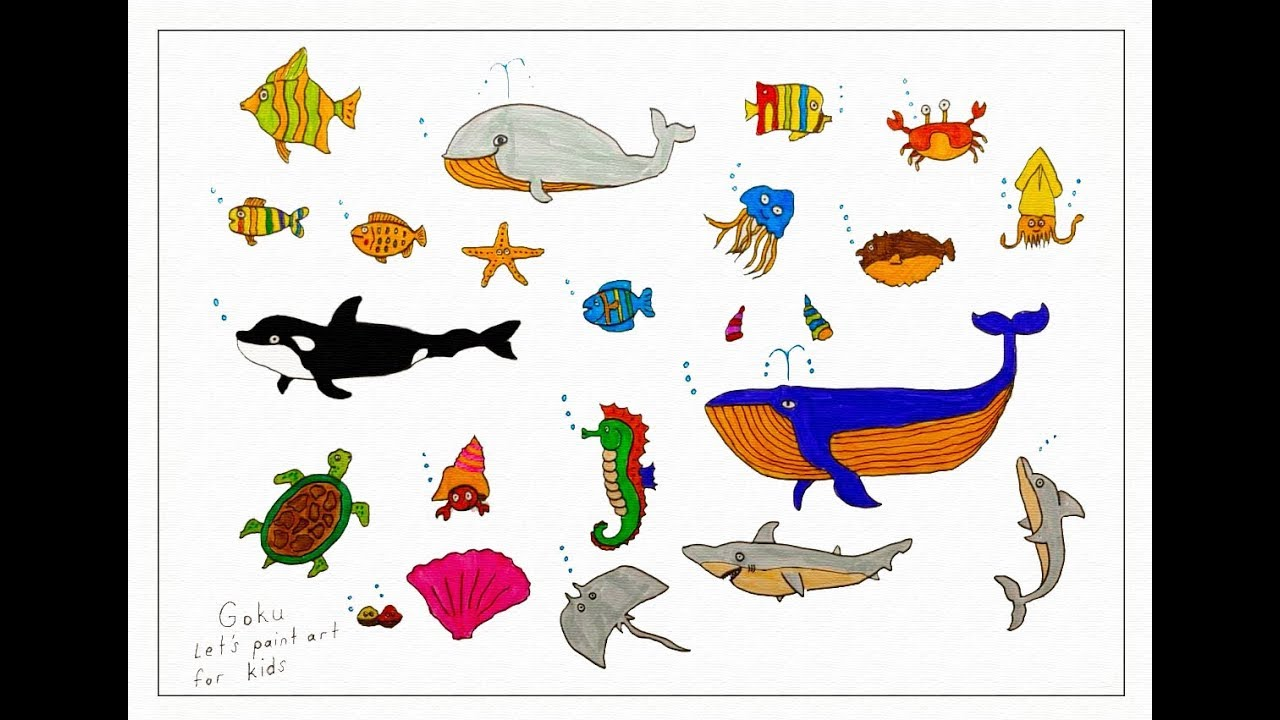 How to easy drawing sea creatures for Kids - Children's Coloring Book with #Paiting
