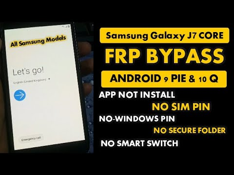 Samsung J7 Core FRP Bypass App not install Fixed All Samsung Android 9