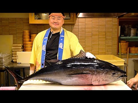 Japanese Food - GIANT BLUEFIN TUNA DEMOLITION FISH SASHIMI In Tokyo Japan