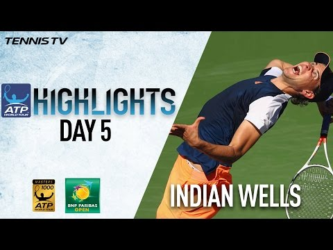 Thiem Wawrinka Monfils Advance In Indian Wells 2017 Monday Highlights