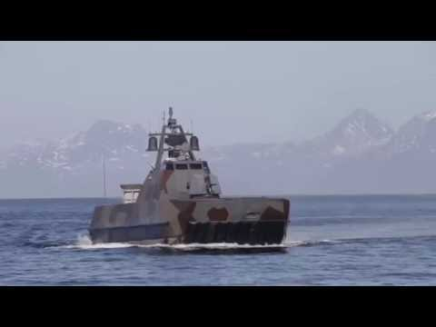 Norwegian Navy Skjold-class Corvette Fires NSM against Coastal Land Target