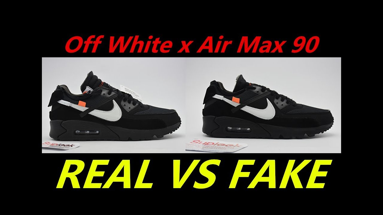 brand new bdb74 9934f REAL VS FAKE Off White x Air Max 90 Black