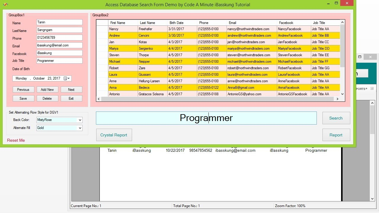 VB Net - How to Create a Crystal Reports Using Visual Studio 2015 Part 1/2