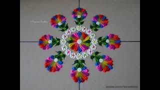 Very easy and quick multicolored rangoli using bangles | Easy rangoli designs by Poonam Borkar