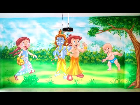 How to Drawing Chhota Bheem, Play School Wall Painting, 9849938885, Classroom Decoration Ideas